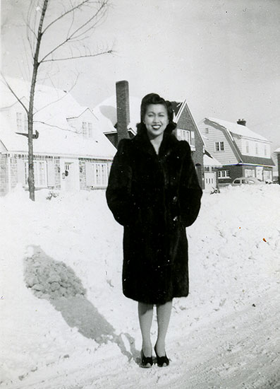 Lucy Sim on Island Park Drive, the street of the family's new home in Ottawa, circa. early 1950s (Courtesy of Harry Sim)