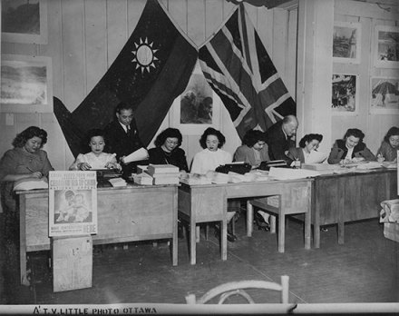 Entry exam for stenographers for the federal government, circa. early 1940s<br />L to R: Lillian Fong Johnston, unknown, Louise Fong Johnston, Margaret Joe, Mary Wong, Helen Kealey, Doris Yuen, Unknown. (Courtesy of Linda Hum)